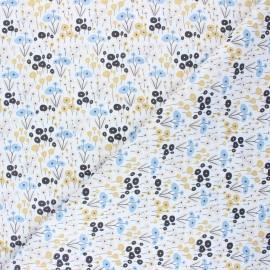Tissu coton cretonne Floraison hivernale - blanc x 10cm