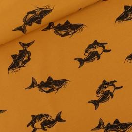Tissu See you at six sweat léger Carps - brun Dusan x 10cm