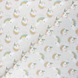 Tissu coton cretonne Lily - grège x 10cm