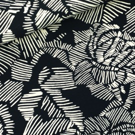 See you at six french terry fabric - black Winter Rose x 10 cm
