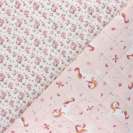 Quilted cotton fabric - pink Ingela/Fledi x 10cm
