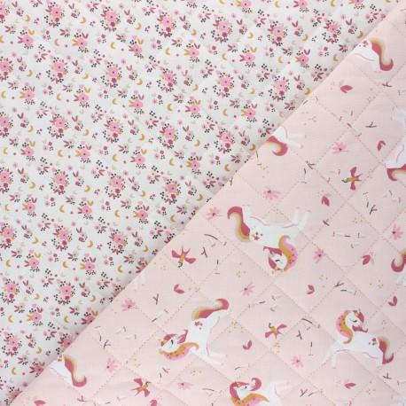 Tissu matelassé réversible Ingela/Fledi - rose x 10cm
