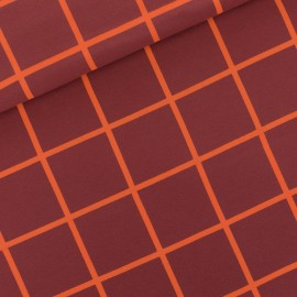See you at six french terry fabric - burgundy Grid x 10 cm