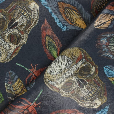Leather Imitation fabric - navy blue Skulls and feathers x 10cm