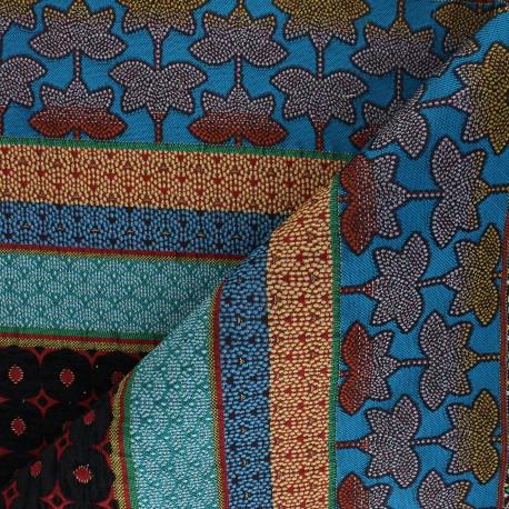Tissu jacquard Dubaï - bleu x 42cm