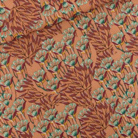 Tissu See you at six viscose Gilly flowers - brun x 10cm