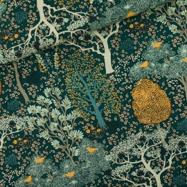 See you at six cotton canvas fabric - Green Oriental garden x 10 cm