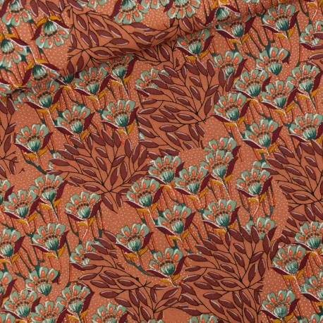See you at six cotton canvas fabric - Sunburn Gilly flowers x 10 cm