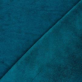 Tissu micro-éponge bambou Caresse - bleu canard x 10cm