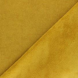 Tissu micro-éponge bambou Caresse - jaune moutarde x 10cm