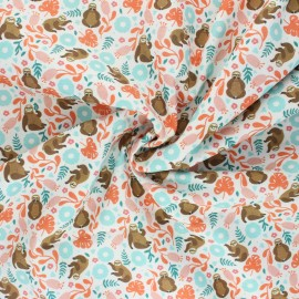 Tissu coton Camelot Fabrics Born to be mild - Live slow - blanc x 10cm