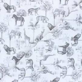 Tissu coton Safari - gris  x 10cm