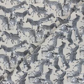 Tissu coton Troupe zébrée - ficelle  x 10cm