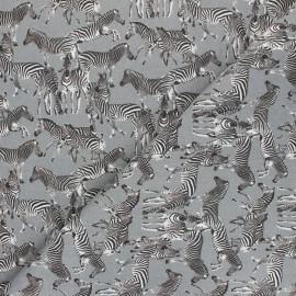 Tissu coton Troupe zébrée - gris x 10cm