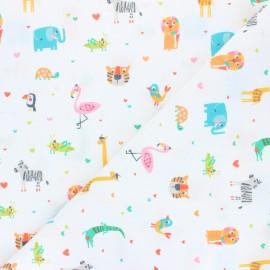 Cotton fabric - white Cute friends x 10cm