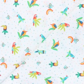 Cotton fabric - white Jungle birds x 10cm