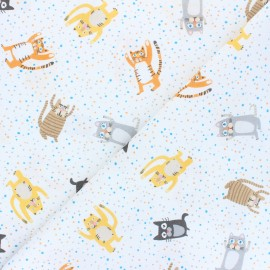 Tissu coton Cat party - blanc x 10cm