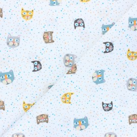 Cotton fabric - white Cat faces x 10cm