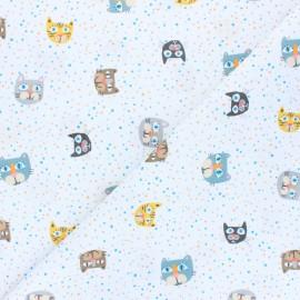 Tissu coton Cat faces - blanc x 10cm