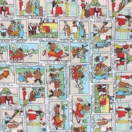 Tissu coton Vintage comic - multicolore x 10cm