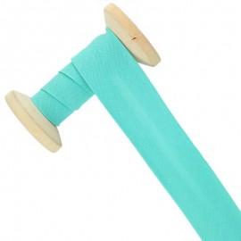 Biais tout textile 30 mm - bleu lagon - Bobine de 25 m