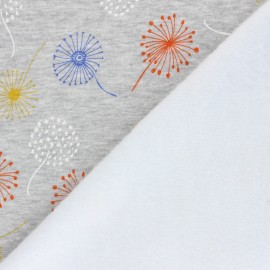 Tissu sweat envers minkee Colorful dandelion - gris chiné x 10cm