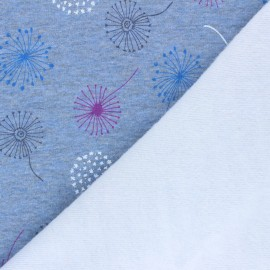 Tissu sweat envers minkee Colorful dandelion - bleu chiné x 10cm
