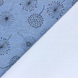 Tissu sweat envers minkee Soft dandelion - bleu chiné x 10cm