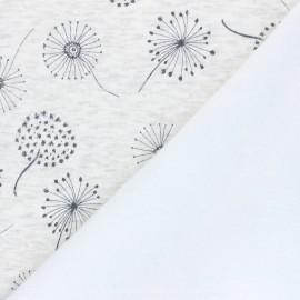 Tissu sweat envers minkee Soft dandelion - écru chiné x 10cm