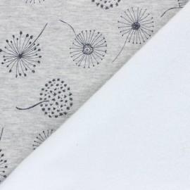 Tissu sweat envers minkee Soft dandelion - gris chiné x 10cm