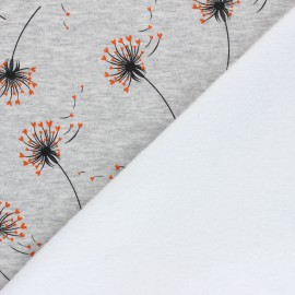 Tissu sweat envers minkee Love dandelion - gris chiné x 10cm