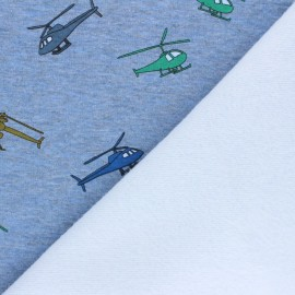 Tissu sweat envers minkee Helicopters - bleu chiné x 10cm