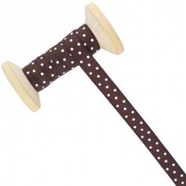 10 mm Polka Dot Ribbon Roll - Brown