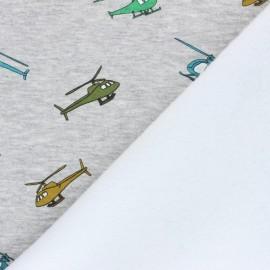 Sweatshirt with minkee fabric - mottled grey Helicopters x 10cm
