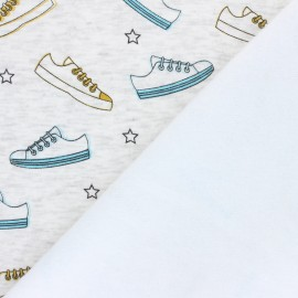 Sweatshirt with minkee fabric - mottled raw Basket x 10cm