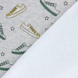 Tissu sweat envers minkee Basket - gris chiné x 10cm