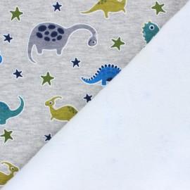 Tissu sweat envers minkee Cute dino - gris chiné x 10cm