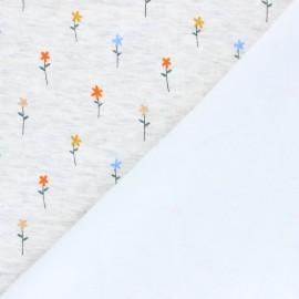Sweatshirt with minkee fabric - mottled raw Pretty daisies x 10cm