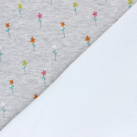 Tissu sweat envers minkee Pretty daisies - gris chiné x 10cm