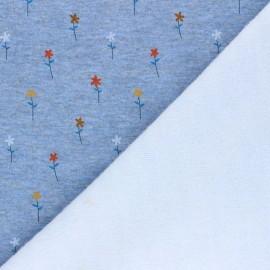 Sweatshirt with minkee fabric - mottled blue Pretty daisies x 10cm