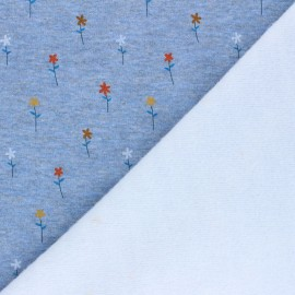 Tissu sweat envers minkee Pretty daisies - bleu chiné x 10cm
