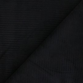 Thick ribbed velvet jersey fabric - black x 10cm