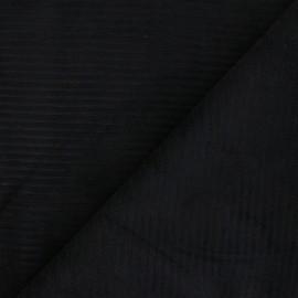 Tissu velours jersey grosses côtes - noir x 10cm