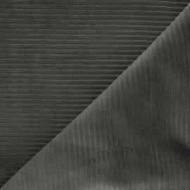 Thick ribbed velvet jersey fabric - khaki green x 10cm