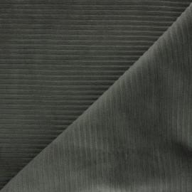 Tissu velours jersey grosses côtes - vert kaki x 10cm