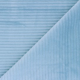 Thick ribbed velvet jersey fabric - sky blue x 10cm