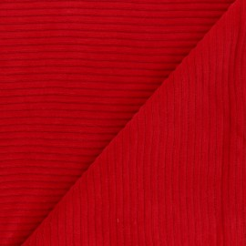 Thick ribbed velvet jersey fabric - red x 10cm