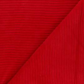 Tissu velours jersey grosses côtes - rouge x 10cm