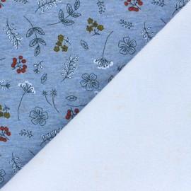 Tissu sweat envers minkee Joli jardin - bleu chiné x 10cm