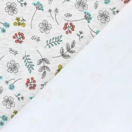 Tissu sweat envers minkee Joli jardin - écru chiné x 10cm